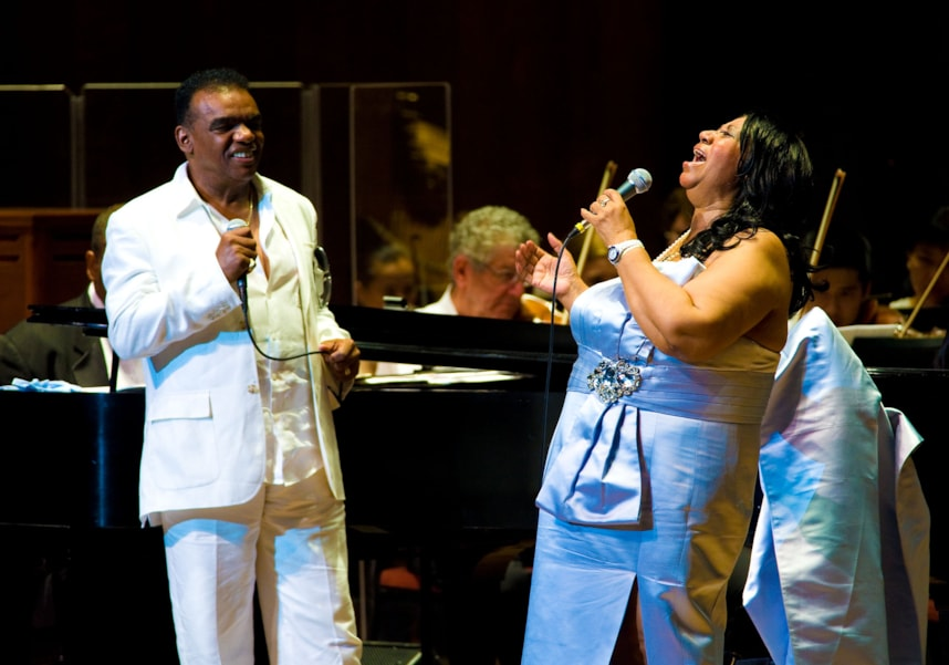 PHILADELPHIA, PA - JULY 27: Aretha Franklin (R) and Ron Isley (L) perform with the Philadelphia Orchestra at the Mann Center for Performing Arts on July 27, 2010 in Philadelphia, Pennsylvania. (Photo Jeff Fusco/Getty Images)