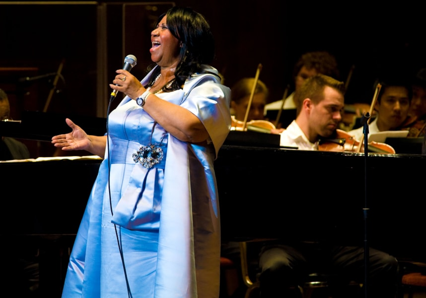 PHILADELPHIA, PA - JULY 27: Aretha Franklin performs with the Philadelphia Orchestra at the Mann Center for Performing Arts on July 27, 2010 in Philadelphia, Pennsylvania. (Photo Jeff Fusco/Getty Images)