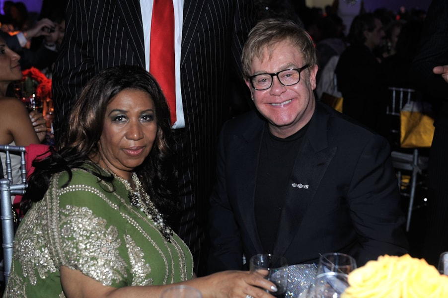 NEW YORK, NY - SEPTEMBER 18:  Aretha Franklin (L) and Elton John attend Tony Bennett's 85th Birthday Gala Benefit for Exploring the Arts at The Metropolitan Opera House on September 18, 2011 in New York City.  (Photo by Jemal Countess/Getty Images for Tony Bennett)