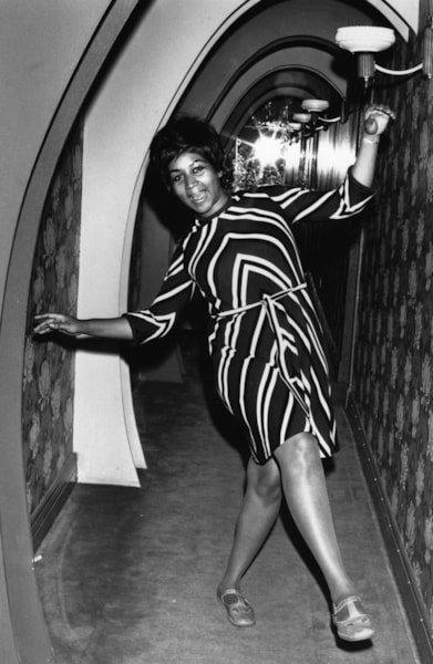 American soul singer Aretha Franklin dancing for the cameras.    (Photo by Express Newspapers/Getty Images)
