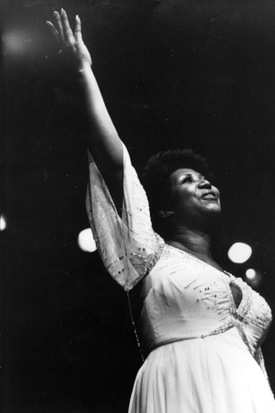 November 1980:  American singer Aretha Franklin, the 'first lady of soul', in performance.  (Photo by Keystone/Getty Images)