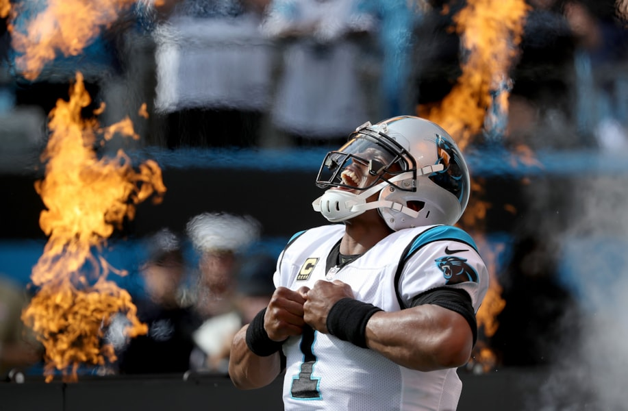 CHARLOTTE, NC - SEPTEMBER 09:  Cam Newton #1 of the Carolina Panthers takes the field against the Dallas Cowboys at Bank of America Stadium on September 9, 2018 in Charlotte, North Carolina.  (Photo by Streeter Lecka/Getty Images)