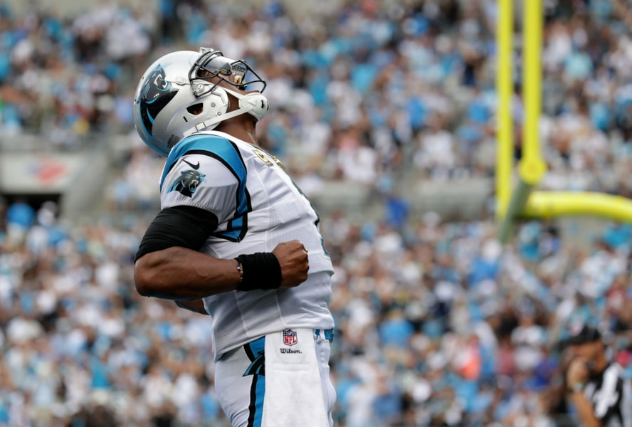 CHARLOTTE, NC - SEPTEMBER 09: Cam Newton #1 of the Carolina Panthers celebrates a touchdown against the Dallas Cowboys in the second quarter during their game at Bank of America Stadium on September 9, 2018 in Charlotte, North Carolina.  (Photo by Streeter Lecka/Getty Images)