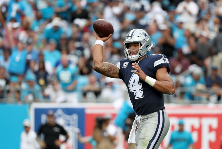 CHARLOTTE, NC - SEPTEMBER 09:  Dak Prescott #4 of the Dallas Cowboys throws a pass against the Carolina Panthers in the second quarter during their game at Bank of America Stadium on September 9, 2018 in Charlotte, North Carolina.  (Photo by Streeter Lecka/Getty Images)