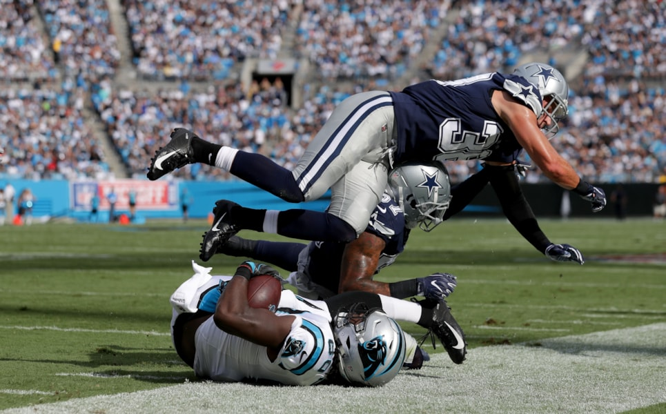 CHARLOTTE, NC - SEPTEMBER 09:  Jeff Heath #38 of the Dallas Cowboys forces Ian Thomas #80 of the Carolina Panthers out of bounds in the second quarter during their game at Bank of America Stadium on September 9, 2018 in Charlotte, North Carolina.  (Photo by Streeter Lecka/Getty Images)