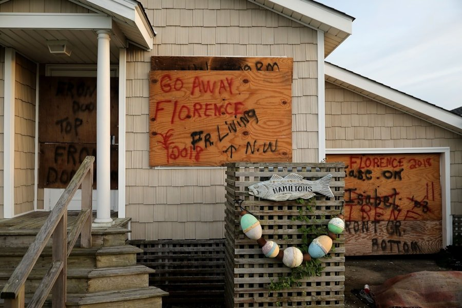 MOREHEAD CITY, NC - SEPTEMBER 12:  Windows and doors are boarded up in anticipation of the arrival of Hurricane Florence September 12, 2018 in Morehead City, North Carolina. Coastal cities in North Carolina, South Carolina and Virgnian are under evacuation orders as the category 3 hurricane approaches the United States.  (Photo by Chip Somodevilla/Getty Images)