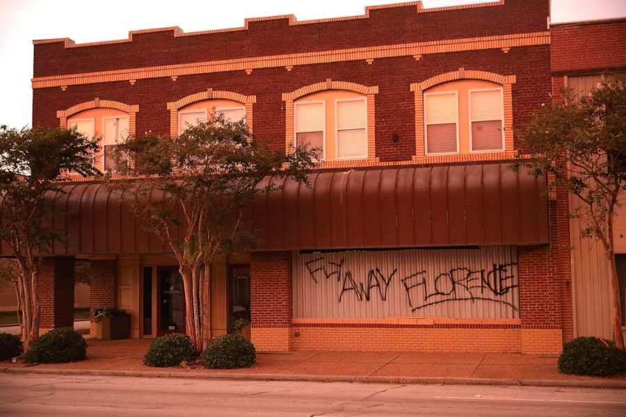 MOREHEAD CITY, NC - SEPTEMBER 12:  Businesses are boarded up and scrawled with messages before the arrival of Hurricane Florence September 12, 2018 in Morehead City, North Carolina. Coastal cities in North Carolina, South Carolina and Virgnian are under evacuation orders as the category 3 hurricane approaches the United States.  (Photo by Chip Somodevilla/Getty Images)