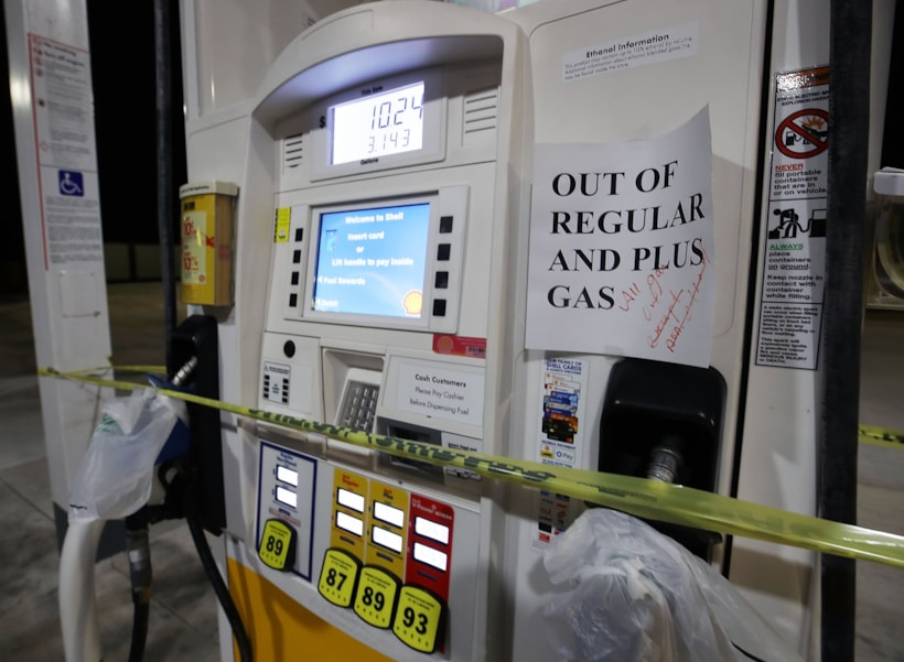 SURF CITY, NC- SEPTEMBER 13: A gas station pump is shut down with no gas as Hurricane Florence approaches the area, on September 13, 2018 in Surf City, North Carolina. Hurricane Florence is expected on early Friday possibly as a category 2 or 3 storm along the North Carolina and South Carolina coastline.  (Photo by Mark Wilson/Getty Images)