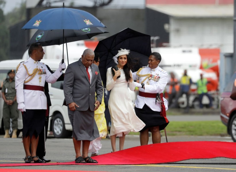 SUVA, FIJI - OCTOBER 23:  Prince Harry, Duke of Sussex (not in picture) and Meghan, Duchess of Sussex arrive in Suva on October 23, 2018 in Suva, Fiji. The Duke and Duchess of Sussex are on their official 16-day Autumn tour visiting cities in Australia, Fiji, Tonga and New Zealand. (Photo by Kirsty Wigglesworth - Pool/Getty Images)