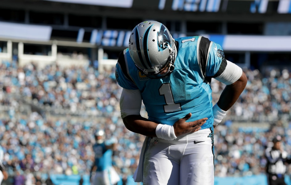 CHARLOTTE, NC - OCTOBER 28:  Cam Newton #1 of the Carolina Panthers celebrates a touchdown against the Baltimore Ravens in the fourth quarter during their game at Bank of America Stadium on October 28, 2018 in Charlotte, North Carolina.  (Photo by Streeter Lecka/Getty Images)