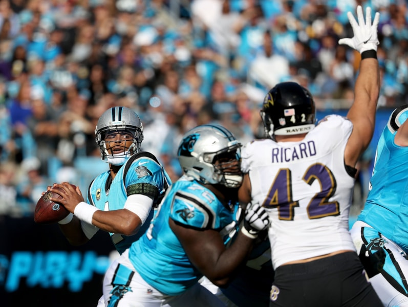 CHARLOTTE, NC - OCTOBER 28:  Cam Newton #1 of the Carolina Panthers throws a pass against the Baltimore Ravens in the third quarter during their game at Bank of America Stadium on October 28, 2018 in Charlotte, North Carolina.  (Photo by Streeter Lecka/Getty Images)