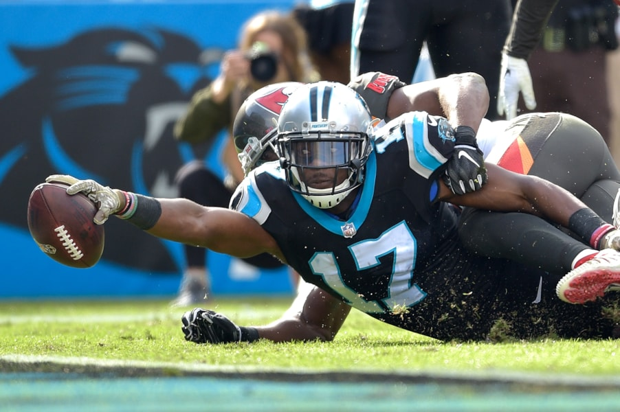 CHARLOTTE, NC - NOVEMBER 04:  Devin Funchess #17 of the Carolina Panthers is stopped short of the goal line during the first half of their game against the Tampa Bay Buccaneers at Bank of America Stadium on November 4, 2018 in Charlotte, North Carolina.  (Photo by Grant Halverson/Getty Images)
