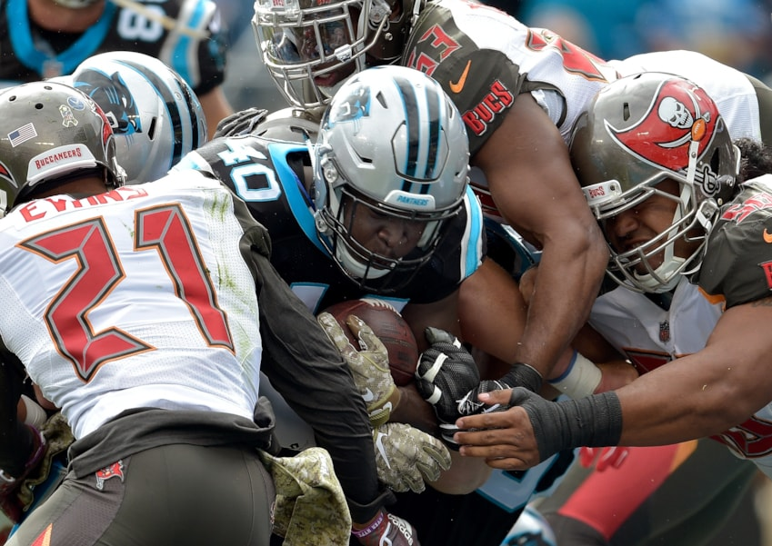 CHARLOTTE, NC - NOVEMBER 04:  Alex Amrah of the Carolina Panthers runs the ball against the Tampa Bay Buccaneers in the second quarter during their game at Bank of America Stadium on November 4, 2018 in Charlotte, North Carolina.  (Photo by Grant Halverson/Getty Images)