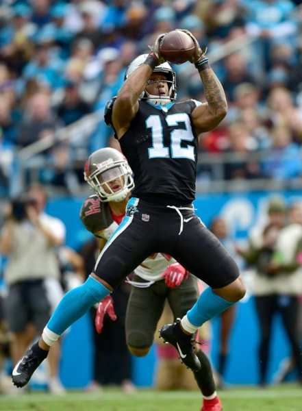 CHARLOTTE, NC - NOVEMBER 04:  DJ Moore #12 of the Carolina Panthers makes a catch against Brent Grimes #24 of the Tampa Bay Buccaneers during the third quarter of their game at Bank of America Stadium on November 4, 2018 in Charlotte, North Carolina.  (Photo by Grant Halverson/Getty Images)