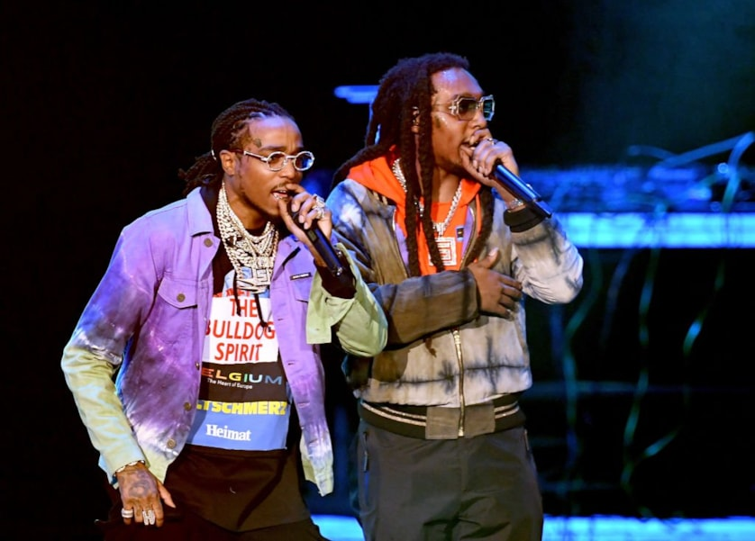 ATLANTA, GA - JANUARY 31:  Quavo and Takeoff of Migos perform onstage during Bud Light Super Bowl Music Fest / EA SPORTS BOWL at State Farm Arena on January 31, 2019 in Atlanta, Georgia.  (Photo by Kevin Winter/Getty Images for Bud Light Super Bowl Music Fest / EA SPORTS BOWL)