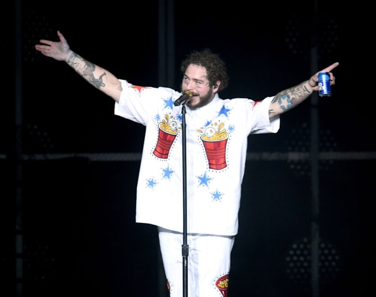 ATLANTA, GA - FEBRUARY 01:  Post Malone performs onstage during Day 2 of Bud Light Super Bowl Music Fest at State Farm Arena on February 1, 2019 in Atlanta, Georgia.  (Photo by Kevin Winter/Getty Images for Bud Light Super Bowl Music Fest)