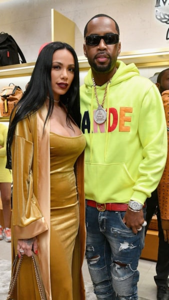 ATLANTA, GA - FEBRUARY 02:  Erica Mena (L) and Safaree Samuels attend MCM x Super Bowl LIII on February 2, 2019 in Atlanta, Georgia.  (Photo by Dia Dipasupil/Getty Images for MCM)