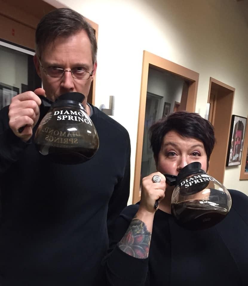 Phil & Mel enjoying coffee