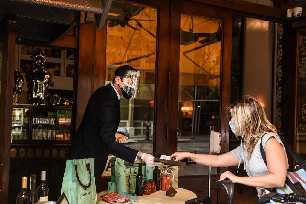 NYC restaurant during coronavirus pandemic lockdown